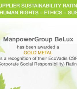 Duurzaamheidsbeleid ManpowerGroup BeLux krijgt gouden medaille