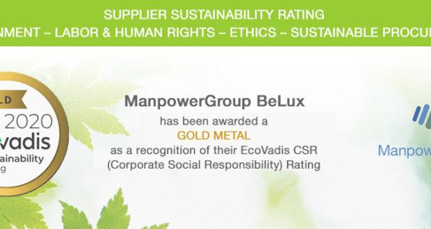 Politique de développement durable ManpowerGroup BeLux reçoit la médaille d'or
